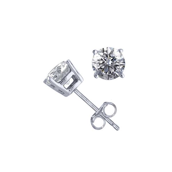 14K White Gold 1.06 ctw Natural Diamond Stud Earrings - REF-141G9M