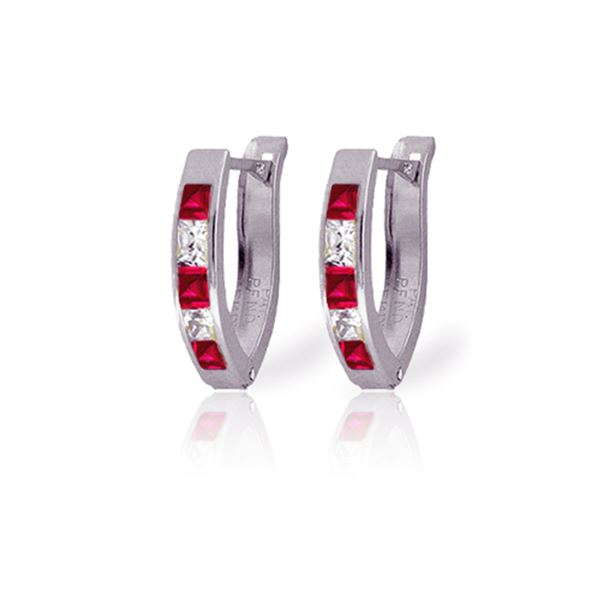Genuine 1.26 ctw Ruby & White Topaz Earrings 14KT White Gold - REF-26F2Z