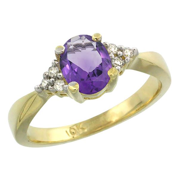 1.06 CTW Amethyst & Diamond Ring 14K Yellow Gold - REF-36K9W