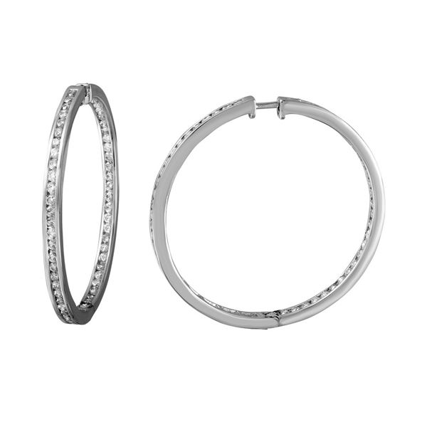 2.29 CTW White Round Diamond Hoop  Earring 14K White Gold - REF-200A2V