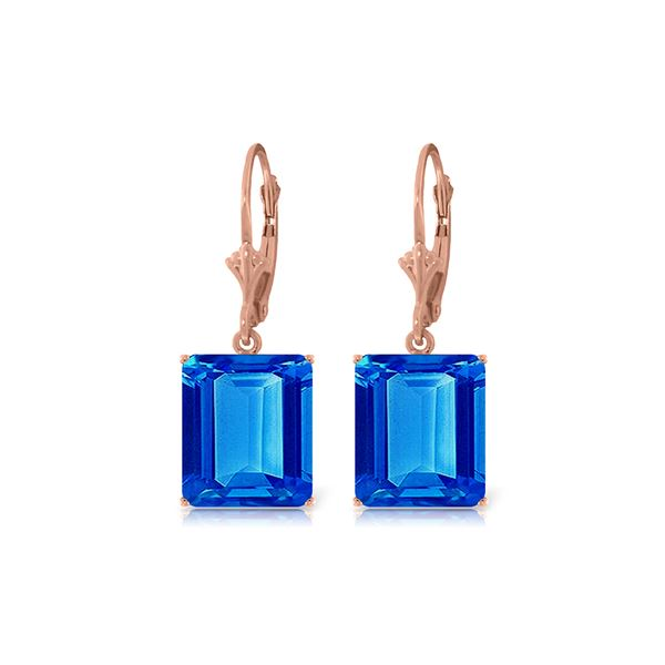 Genuine 13 ctw Blue Topaz Earrings 14KT Rose Gold - REF-54H2X