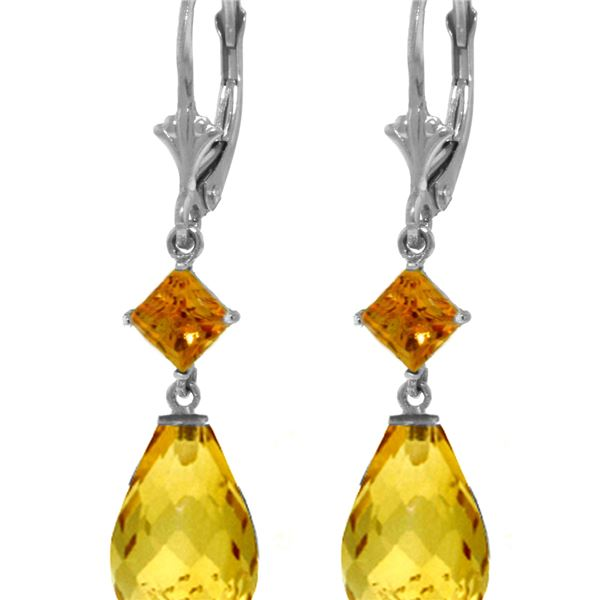 Genuine 11 ctw Citrine Earrings 14KT White Gold - REF-39A3K