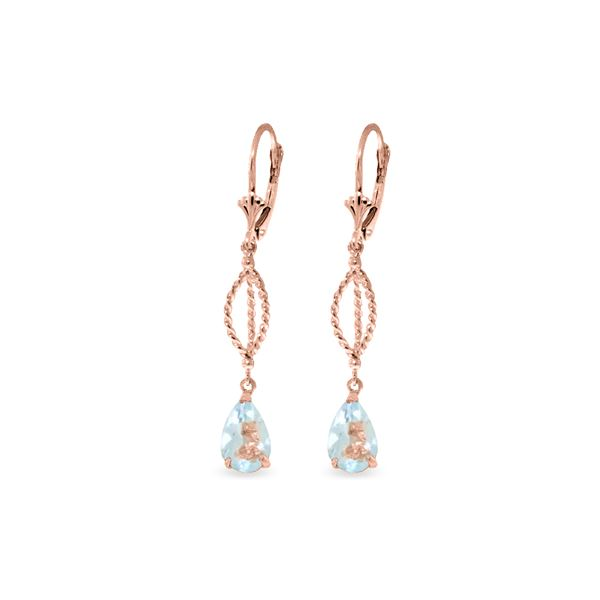 Genuine 3 ctw Aquamarine Earrings 14KT Rose Gold - REF-54Z2N