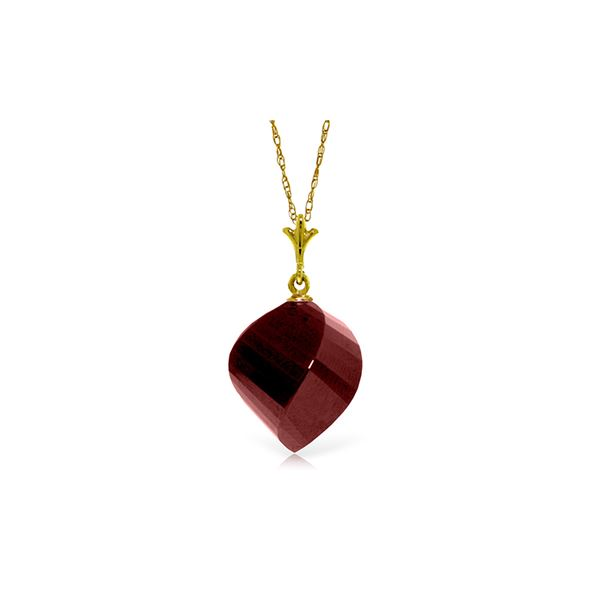 Genuine 15.25 ctw Ruby Necklace 14KT Yellow Gold - REF-26A7K