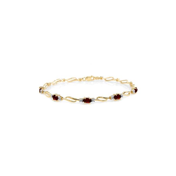 Genuine 3.39 ctw Garnet & Diamond Bracelet 14KT Yellow Gold - REF-82T6A