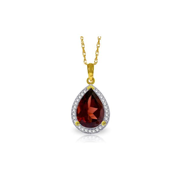 Genuine 4.06 ctw Garnet & Diamond Necklace 14KT Yellow Gold - REF-70R2P