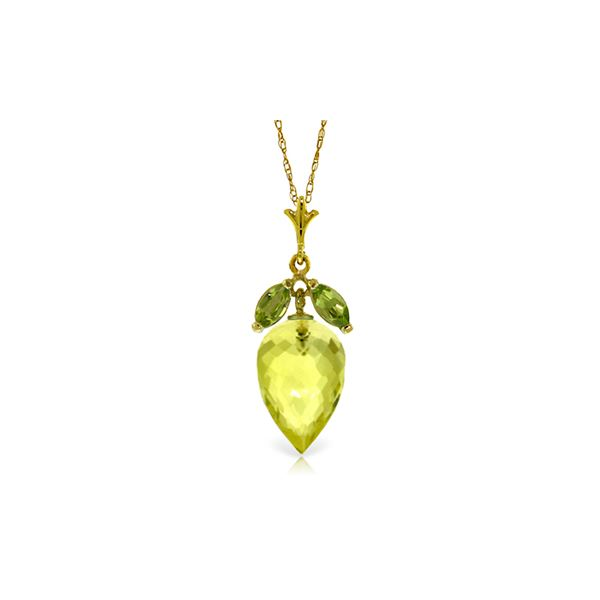 Genuine 9.5 ctw Quartz Lemon & Peridot Necklace 14KT Yellow Gold - REF-25K8V
