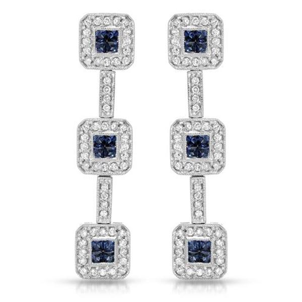 Natural 1.94 CTW Sapphire & Diamond Earrings 14K White Gold - REF-141N3Y