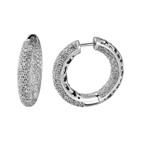 1.97 CTW White Round Diamond Hoop  Earring 14K White Gold - REF-209H3N