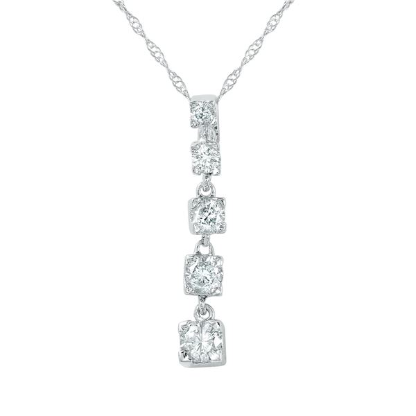 Natural 0.50 CTW Diamond Necklace 14K White Gold - REF-67F5M