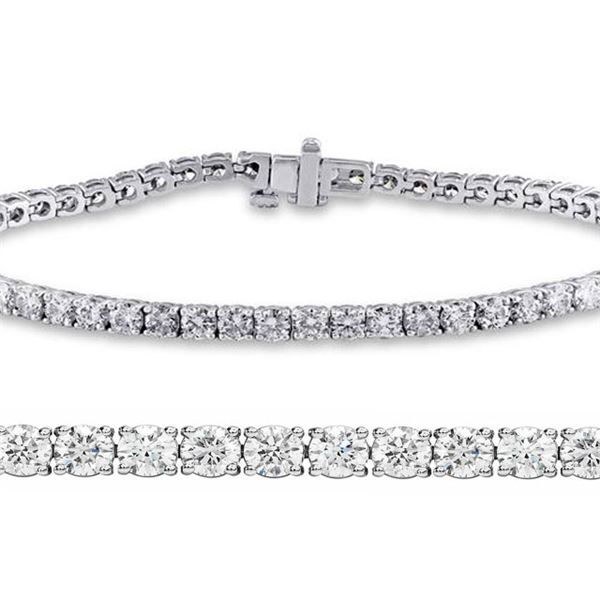 Natural 3.03ct VS2-SI1 Diamond Tennis Bracelet 14K White Gold - REF-200W6N