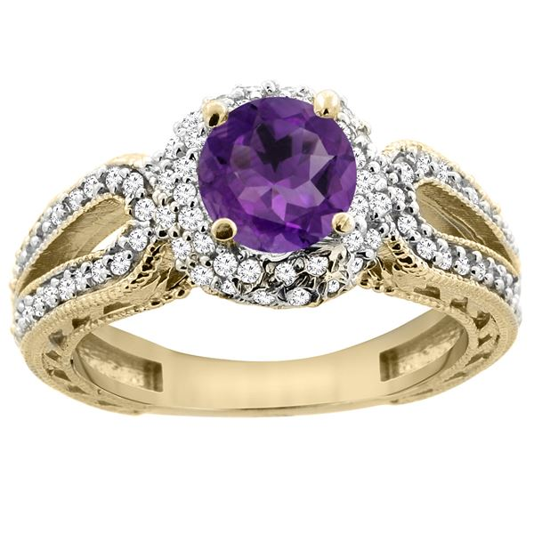 1.25 CTW Amethyst & Diamond Ring 14K Yellow Gold - REF-86V7R