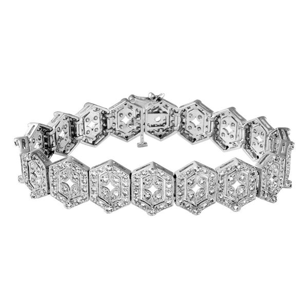 Natural 3.77 CTW Diamond & Bracelet 14K White Gold - REF-345K6R