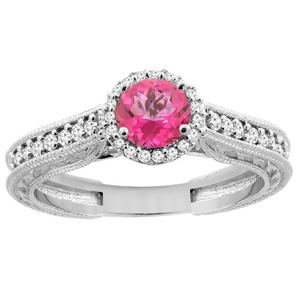 1.24 CTW Pink Topaz & Diamond Ring 14K White Gold - REF-57W4F