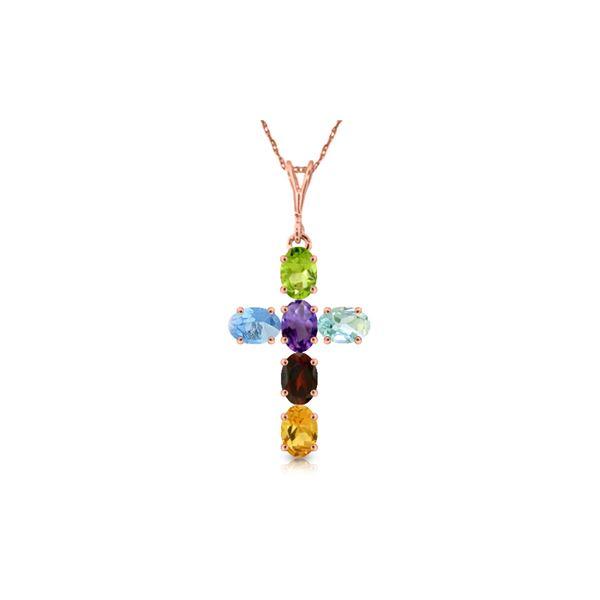 Genuine 1.50 ctw Multi-gemstone Necklace 14KT Rose Gold - REF-32Z8N