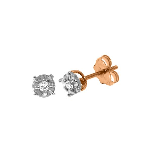 Genuine 0.06 ctw Diamond Anniversary Earrings 14KT Rose Gold - REF-24F3Z