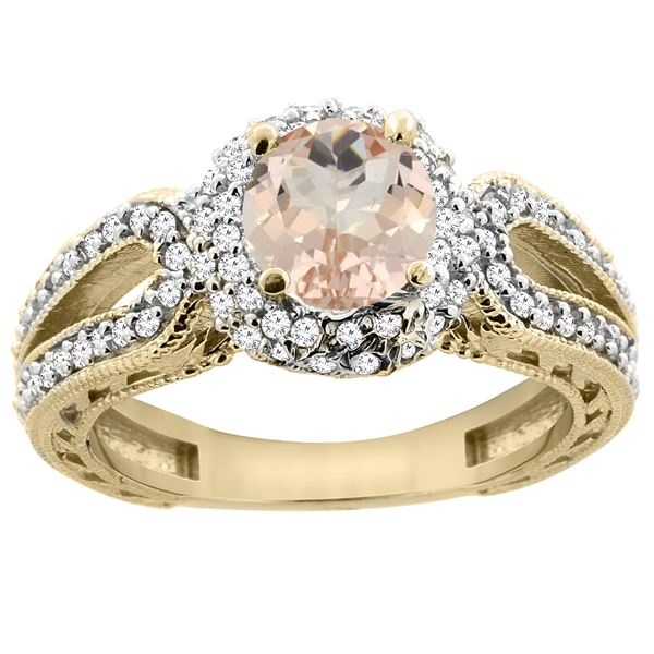 1.20 CTW Morganite & Diamond Ring 14K Yellow Gold - REF-89F7N