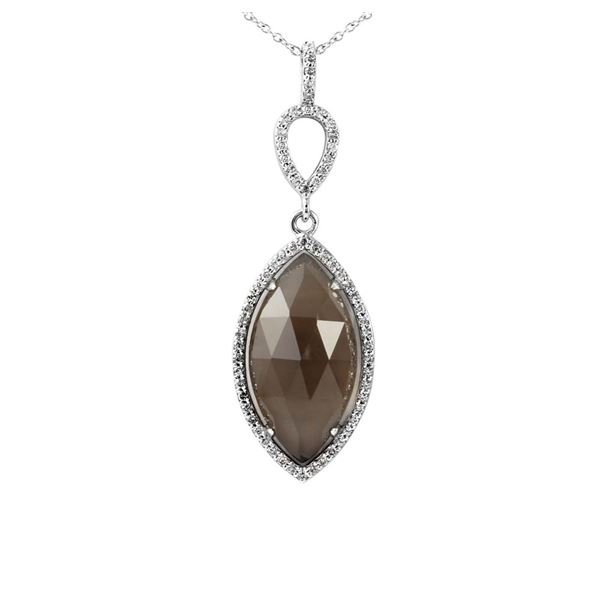 Natural 9.53 CTW Smoky Topaz & Diamond Necklace 14K White Gold - REF-59F4M