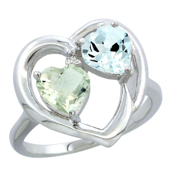 2.61 CTW Diamond, Green Amethyst & Aquamarine Ring 10K White Gold - REF-27N9Y