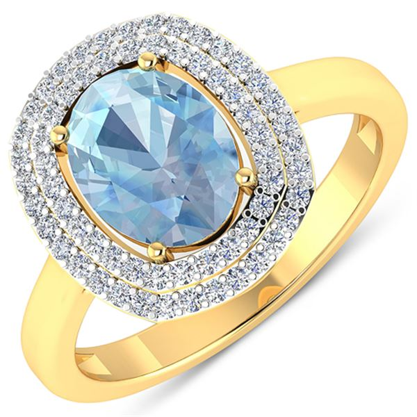 Natural 1.68 CTW Aquamarine & Diamond Ring 14K Yellow Gold - REF-58H9M