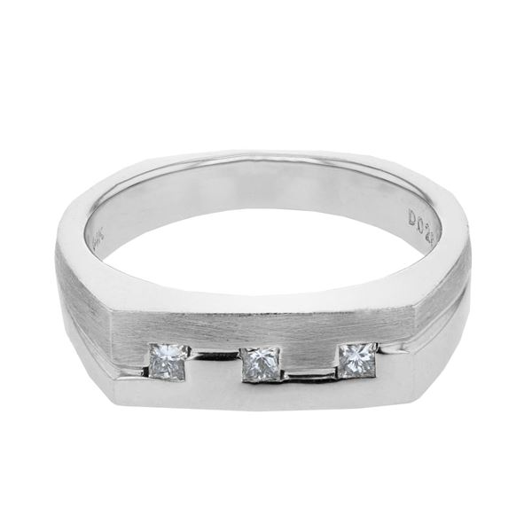Natural 0.26 CTW Princess Diamond Ring 14K White Gold - REF-96N3Y