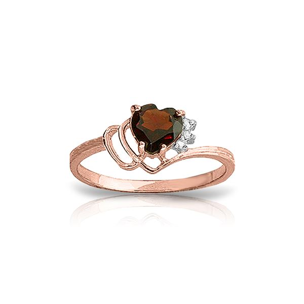 Genuine 0.97 ctw Garnet & Diamond Ring 14KT Rose Gold - REF-29A7K