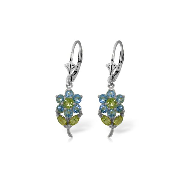 Genuine 2.12 ctw Blue Topaz & Peridot Earrings 14KT White Gold - REF-42K4V