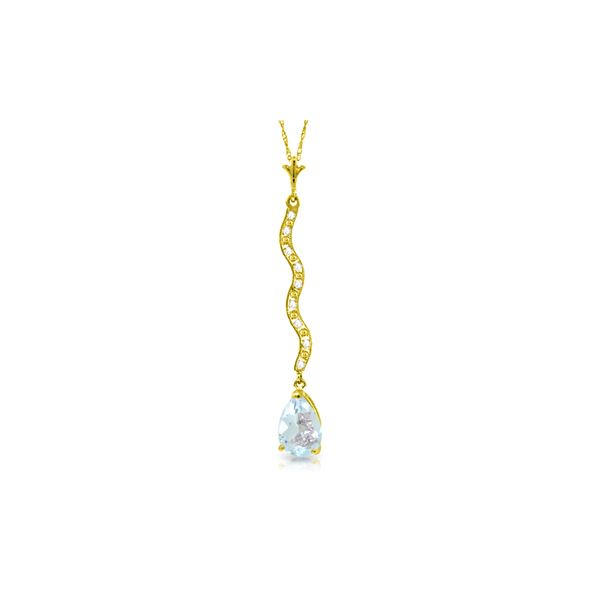Genuine 1.79 ctw Aquamarine & Diamond Necklace 14KT Yellow Gold - REF-36R8P