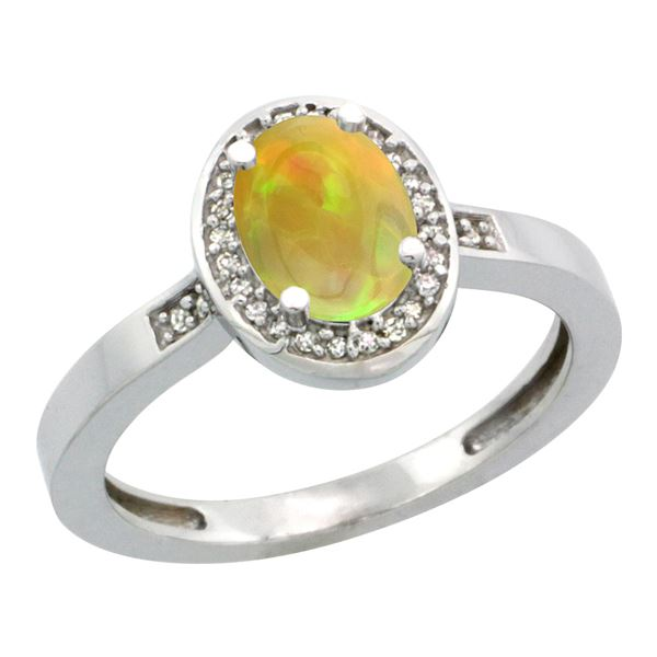 0.71 CTW Ethiopian Opal & Diamond Ring 14K White Gold - REF-38R8H