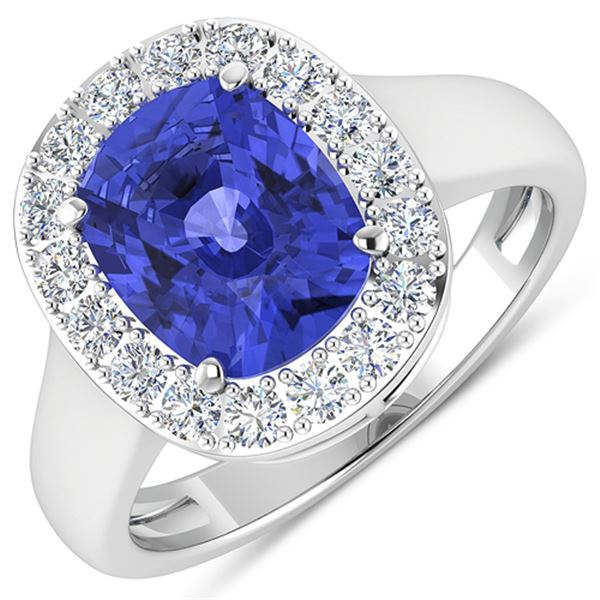 Natural 3.61 CTW Tanzanite & Diamond Ring 14K White Gold - REF-127N3R