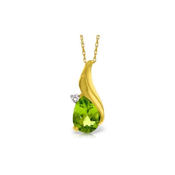 Genuine 2.03 ctw Peridot & Diamond Necklace 14KT Yellow Gold - REF-35A9K