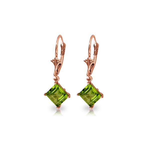 Genuine 3.2 ctw Peridot Earrings 14KT Rose Gold - REF-30M2T