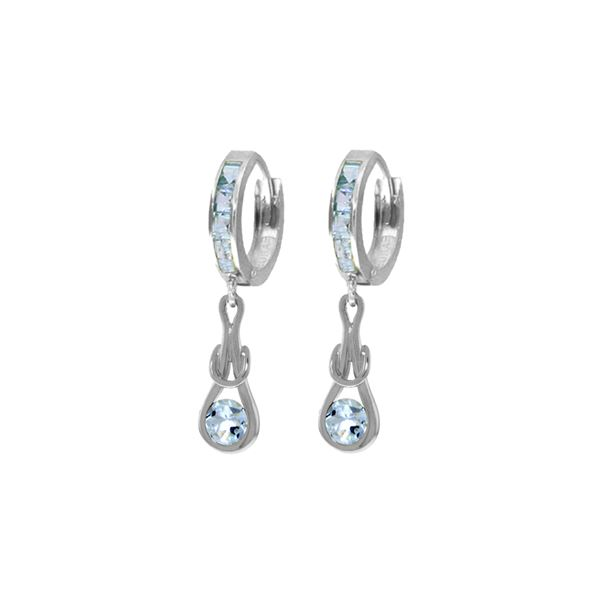 Genuine 2.15 ctw Aquamarine Earrings 14KT White Gold - REF-80M4T