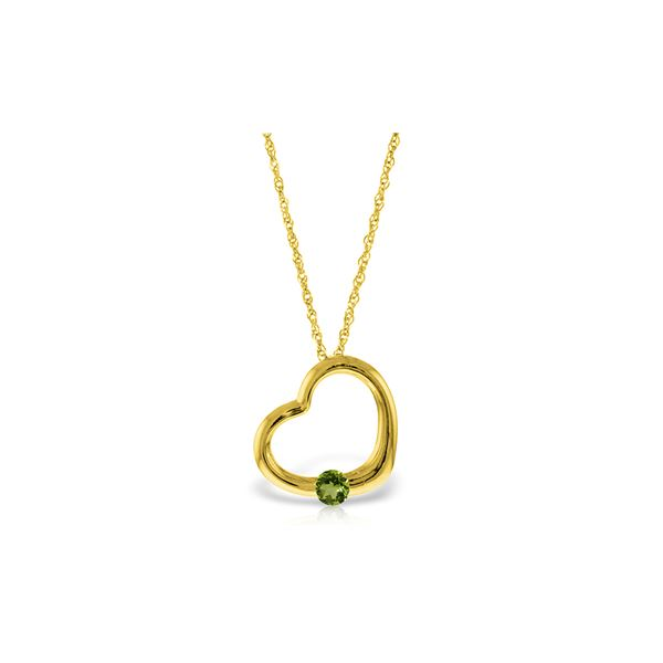 Genuine 0.25 ctw Peridot Necklace 14KT Yellow Gold - REF-29A2K