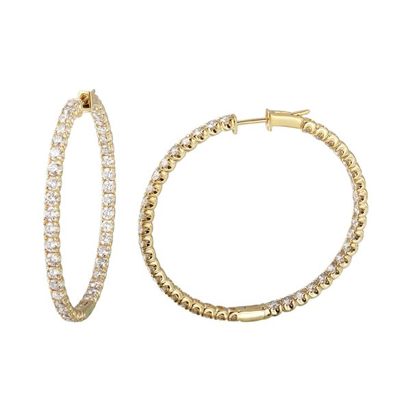 4.89 CTW White Round Diamond Hoop Earring 14K Yellow Gold - REF-463A6V