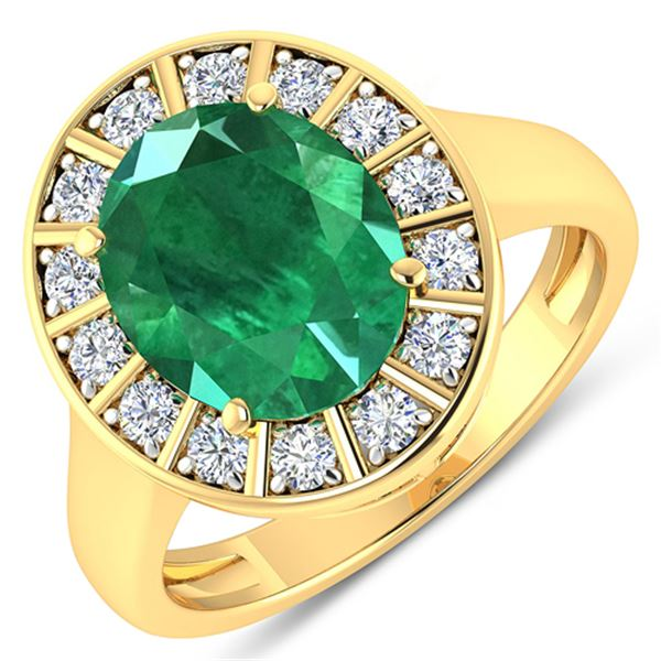 Natural 3.56 CTW Zambian Emerald & Diamond Ring 14K Yellow Gold - REF-145H3M