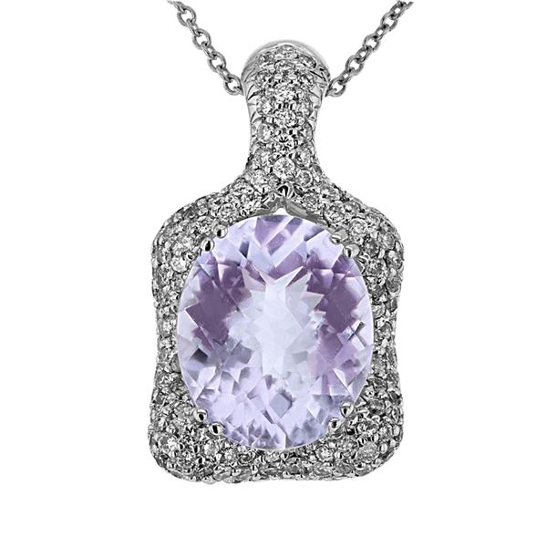 Natural 5.08 CTW Amethyst & Diamond Necklace 14K Gold - REF-97K2R