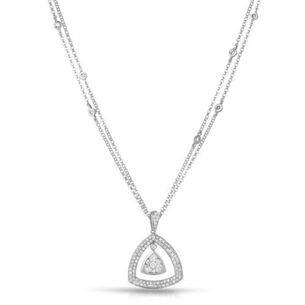 Natural 0.85 CTW Diamond Necklace 14K Gold - REF-128H7W