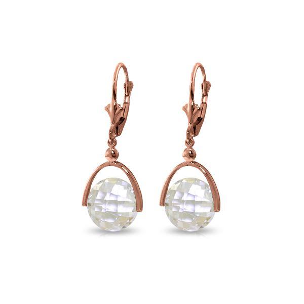 Genuine 7.5 ctw White Topaz Earrings 14KT Rose Gold - REF-43Z2N