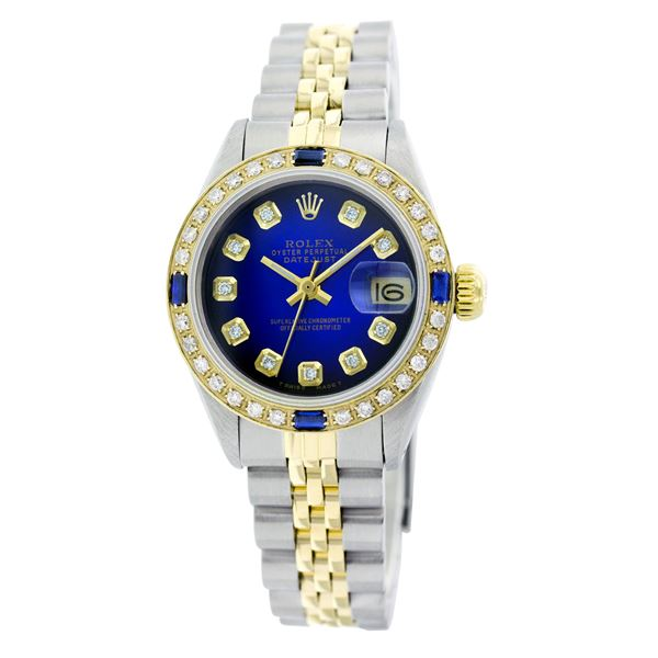 Rolex Pre-owned 26mm Womens Custom Blue Vignette Two Tone