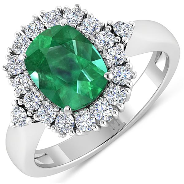 Natural 2.39 CTW Zambian Emerald & Diamond Ring 14K White Gold - REF-112T3H