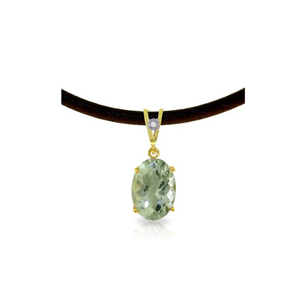 Genuine 7.56 ctw Green Amethyst & Diamond Necklace 14KT Yellow Gold - REF-35X5M