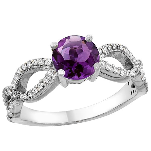 1 CTW Amethyst & Diamond Ring 14K White Gold - REF-49V6R