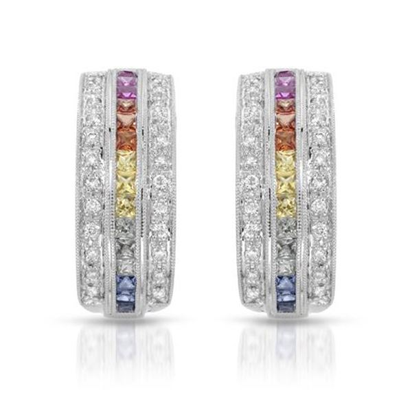 Natural 1.56 CTW Multi-Sapphire & Diamond Earrings 14K White Gold - REF-92Y7N