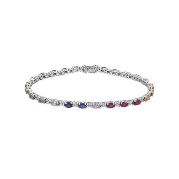 Natural 7.04 CTW Multi-Sapphire & Diamond Bracelet 14K White Gold - REF-144R2K