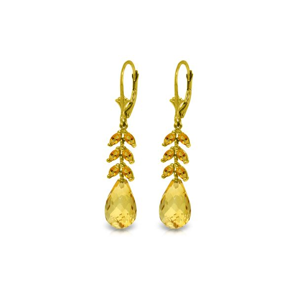 Genuine 11.20 ctw Citrine Earrings 14KT Yellow Gold - REF-56T2A