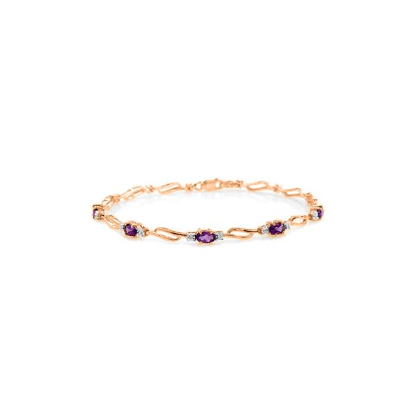 Genuine 2.96 ctw Amethyst & Diamond Bracelet 14KT Rose Gold - REF-82W6Y