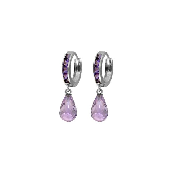 Genuine 5.35 ctw Amethyst Earrings 14KT White Gold - REF-43T6A