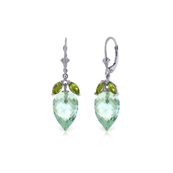 Genuine 23.5 ctw Blue Topaz & Peridot Earrings 14KT White Gold - REF-67X9M
