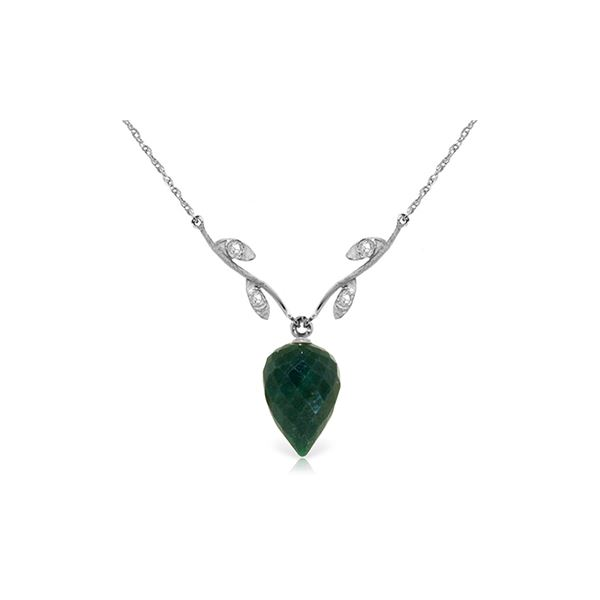 Genuine 12.92 ctw Green Sapphire Corundum & Diamond Necklace 14KT White Gold - REF-42K2V